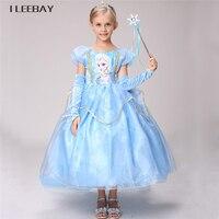 Snow Queen Elsa Dress Children Kids Christmas Cosplay Costume Blue Ice Toddler Girls Dresses For Child