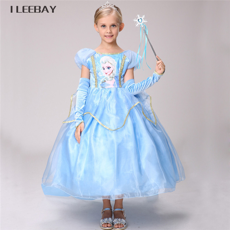 3pcs Snow Queen Elsa Dress Children Kids Christmas Cosplay Costume Blue Ice Toddler Girl Anna Princess Dress Party Clothes 3-10y