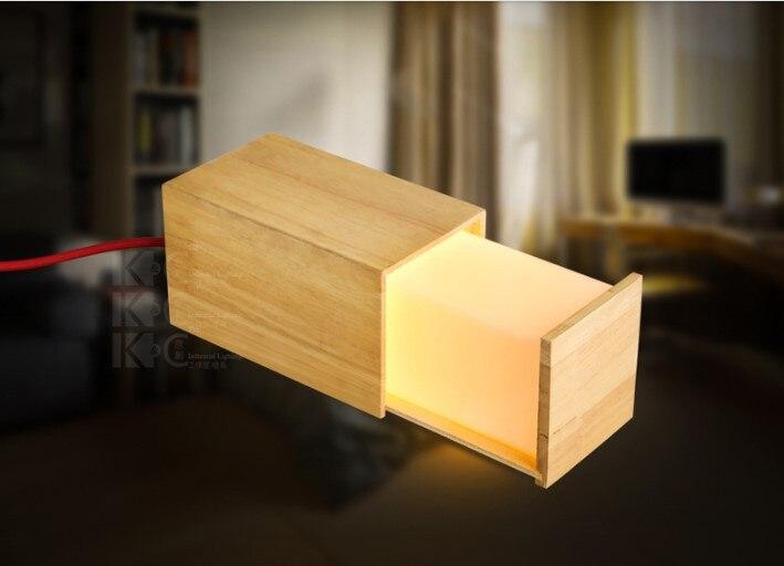 Tafellampen moderne hout houten lade locker vormige tafel