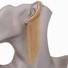 1 Piece Punk Long tassel chain ear cuff clip earrings for wo