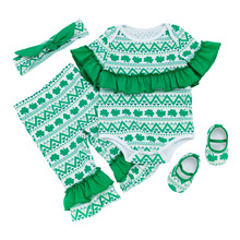 4pcs Newborn Baby Girl Clothes Sets St. Patricks Infantil Romper+Pants With Shoes Headband