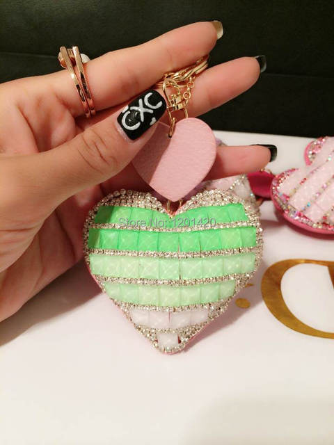 hear sharped keychains sparkly crystal rhinestone covered bling bag charm car keys keyring glitter handmade items keychains