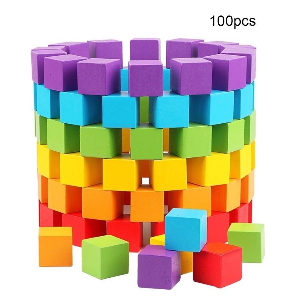 100 Pcs Building Houten Hakblok Baby Kleurrijke Geometrische Vorm Educatief Houten Speelgoed Baby Speelgoed Spel Cadeaus Voor Kinderen