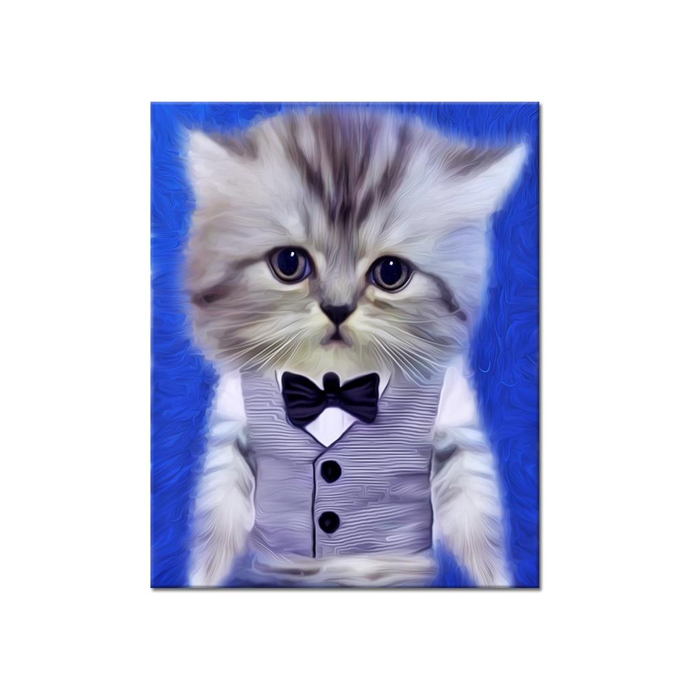 Modern cute animals pet cat wearing suit canvas cat art for Modern cat accessories