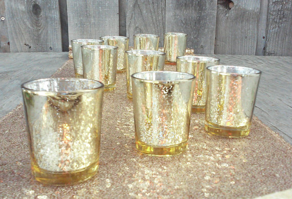 set of 12 bulk mercury wedding gold silver color glass votive holder in candle holders from home. Black Bedroom Furniture Sets. Home Design Ideas