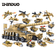 ZhenDuo 16 In 1 Small Particle Building Blocks Military Car Airplane Super Tank Model Assembly DIY Toys for Children