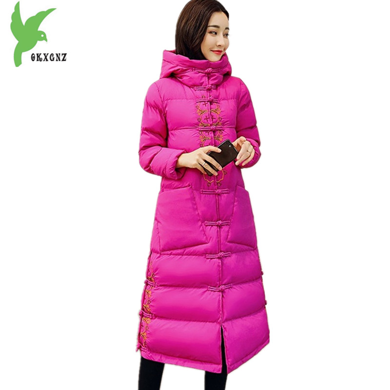 Women's Winter Chinese style Cotton Jackets Thick Warm Cotton Outerwear Embroidery Hooded Coats Medium length Parkas OKXGNZ 1382
