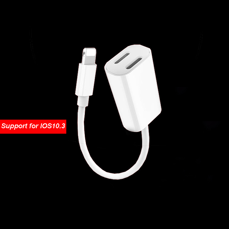 2in1 Audio+Charger Adapter Cable For IPhone 7 Plus 7 6S Dual 8 PIN Port  Convertor Cable Support Phone Calling For IOS10.3 System