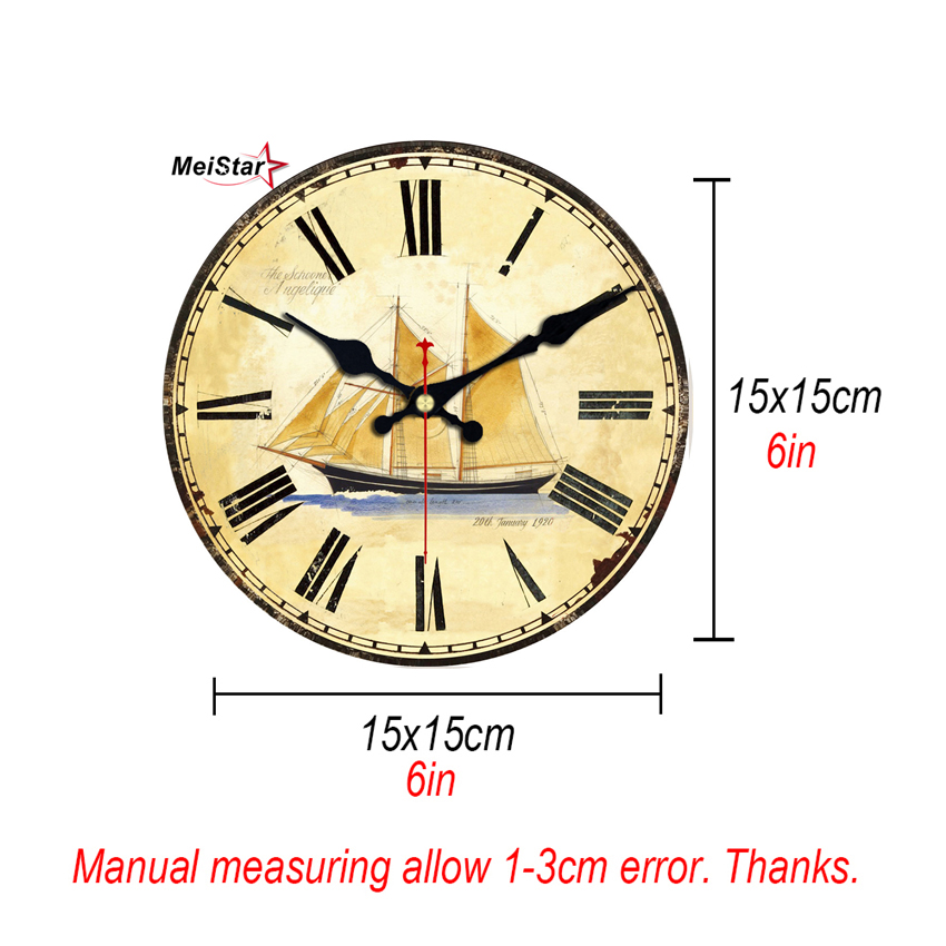 MEISTAR 9 Patterns Vintage Clocks Silent Map Design Watches Office Kitchen Home Decor Art Large Wall Clock 6 inch 15 cm in Wall Clocks from Home Garden