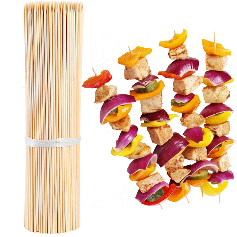 4mm 30 35 40cm Bamboo Sticks BBQ Skewers Barbecue Meat Prod Long Party Forks Disposable Grill