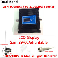 Newest 2G 3G LCD Signal booster ! GSM 900 3G 2100 Mobile Phone Booster Amplifier 3G GSM Repeater + antenna
