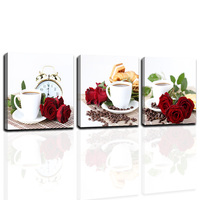 Red Rose and Coffee Bean Posters and Prints Wall Art Canvas Painting Framed Still Life Home Decor Picture for Kitchen 12x12x3p