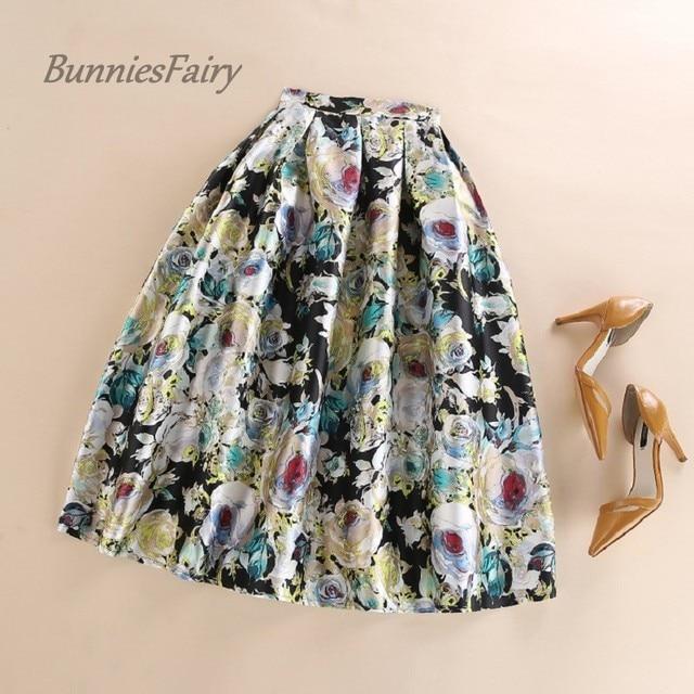 BunniesFairy 2016 Summer New Royal Vintage Style Hepburn Elegant Golden Rose Flower Floral Print High Waist Pleated Midi Skirt