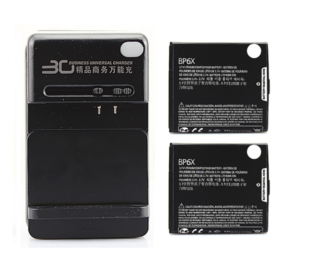 2x 1390Mah BP6X Battery +Charger For Motorola CLIQ MB200,2 MB611,XT MB501,XT610,Droid A855, 2 A955,A956,Pro A957 XT610,i1 XT720