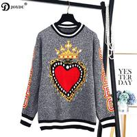 JOYDU Runway Fashion Sweater Women 2018 New Winter Wool Pullover Heart Crown Pattern High Street Jumper Knitted Top sueter mujer
