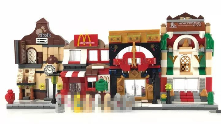 Hot Sale Mini Street View Childrens Enlightenment Toys Full Set Building Blocks for Boys Girls 4 In 1 Christmas Birthday Gift