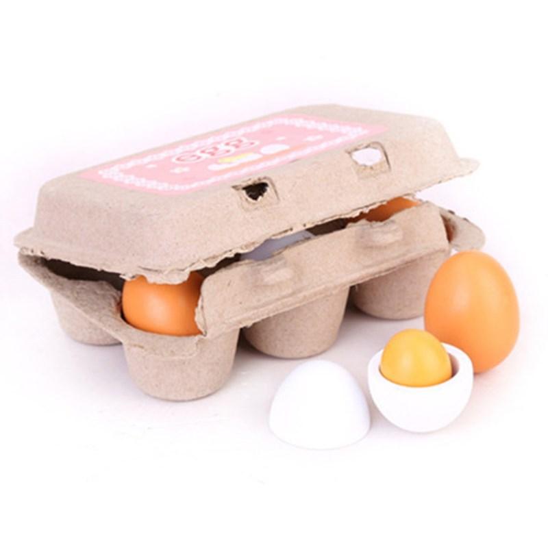 Madera Regalo Unidsset Jugar Niños Niñas Para Simulan Juego Preescolar Juguetes Cocina Huevos 6 De Comida Yema KTF13lJc