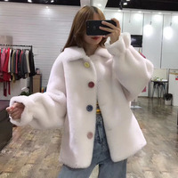 Abrigo mujer sheep fur coat plus size clothes wool blends women winter jacket Flare Sleeve clothing thick warm parka real fur