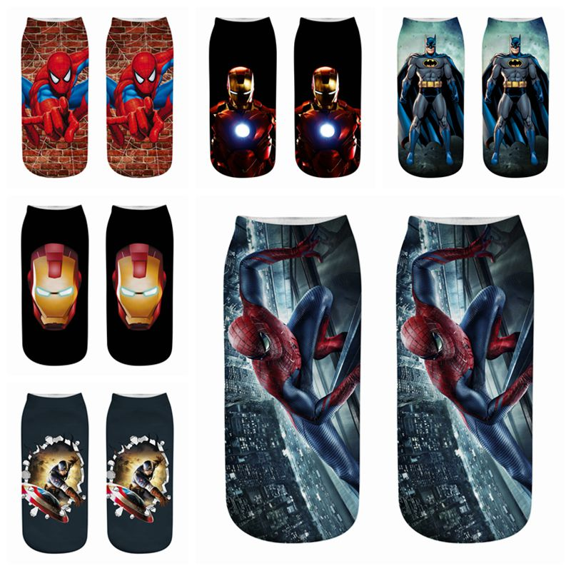 Cartoon Children Short Socks 3D Print Boys Traight Kids Batman Captain American Iron Man Adult Boat Spiderman Cartoon Avengers