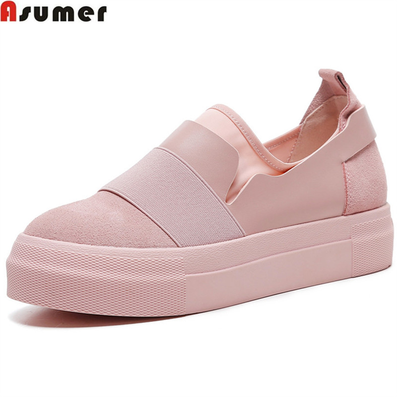 Asumer black pink fashion spring autumn shoes woman round toe flat platform women genuine leather+cow suede flats big size 34-43 cow leather round toe flats plain loafers genuine leather women shoes wedge heels platform spring autumn shoes sizes 22cm 24 5cm