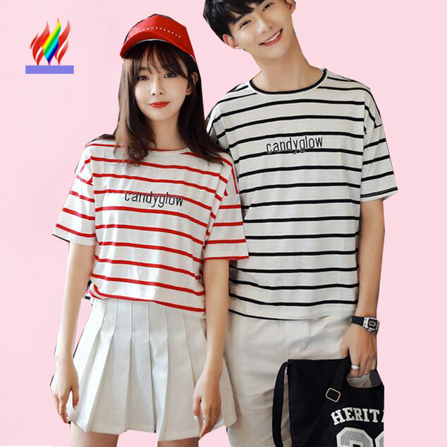 Couple Clothes Lovers Summer Korean Style Men Women Summer Casual Tops Red Black Striped T Shirt