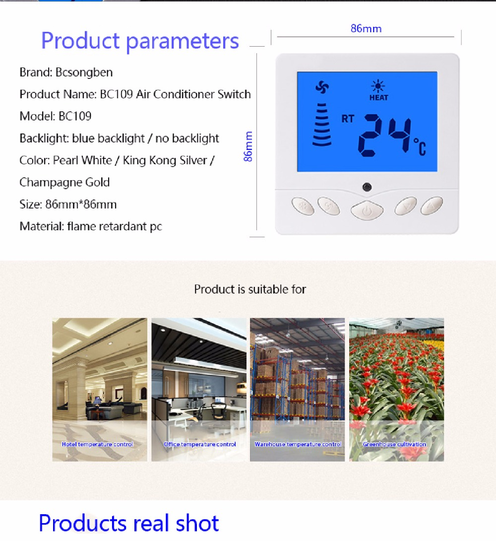 Bcsongben Air Conditioning Lcd Screen Thermostat Fan Thermoregulator Sound Operated Switch By Bc109 Product Description