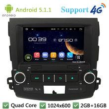 """Quad Core 8 """"1024*600 del androide 5.1.1 coche reproductor de dvd de vídeo estéreo de radio dab + 3g/4g wifi gps mapa para mitsubishi outlander 2006-2012"""