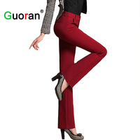 Guoran Wide Leg Pants For Women 2016 New High Quality Red Black Trousers For Office Ladies Plus Size High Waist Female Pants Hot