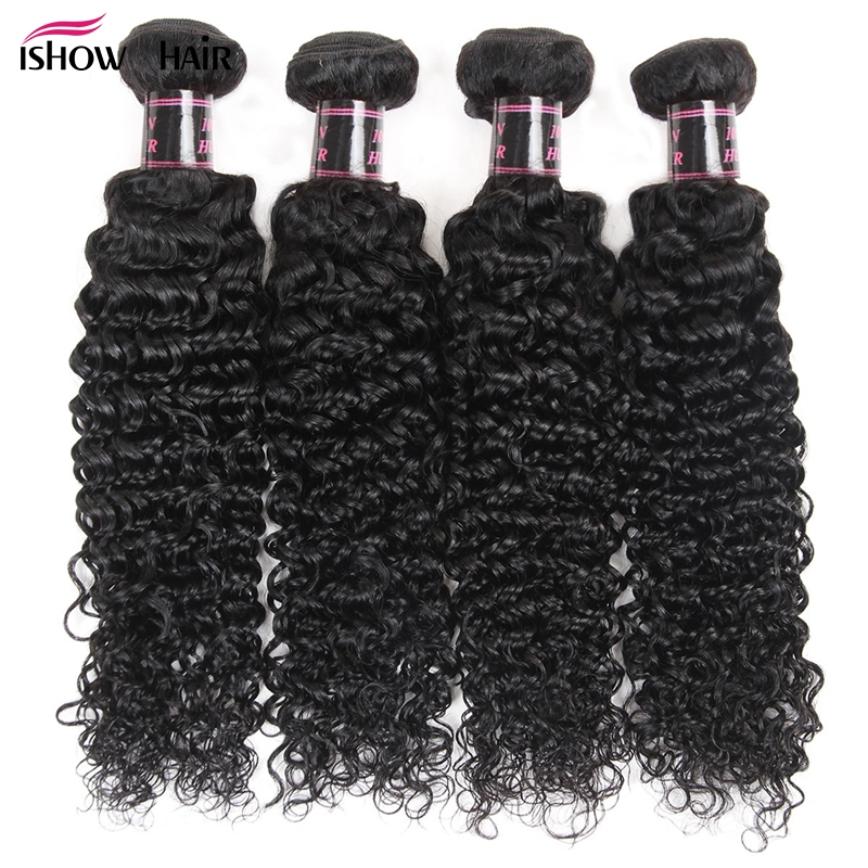 Kinky Curly Human Hair Weave 4 Bundles Brazilian Hair Weave Bundles Deal Ishow Hair Natural Color