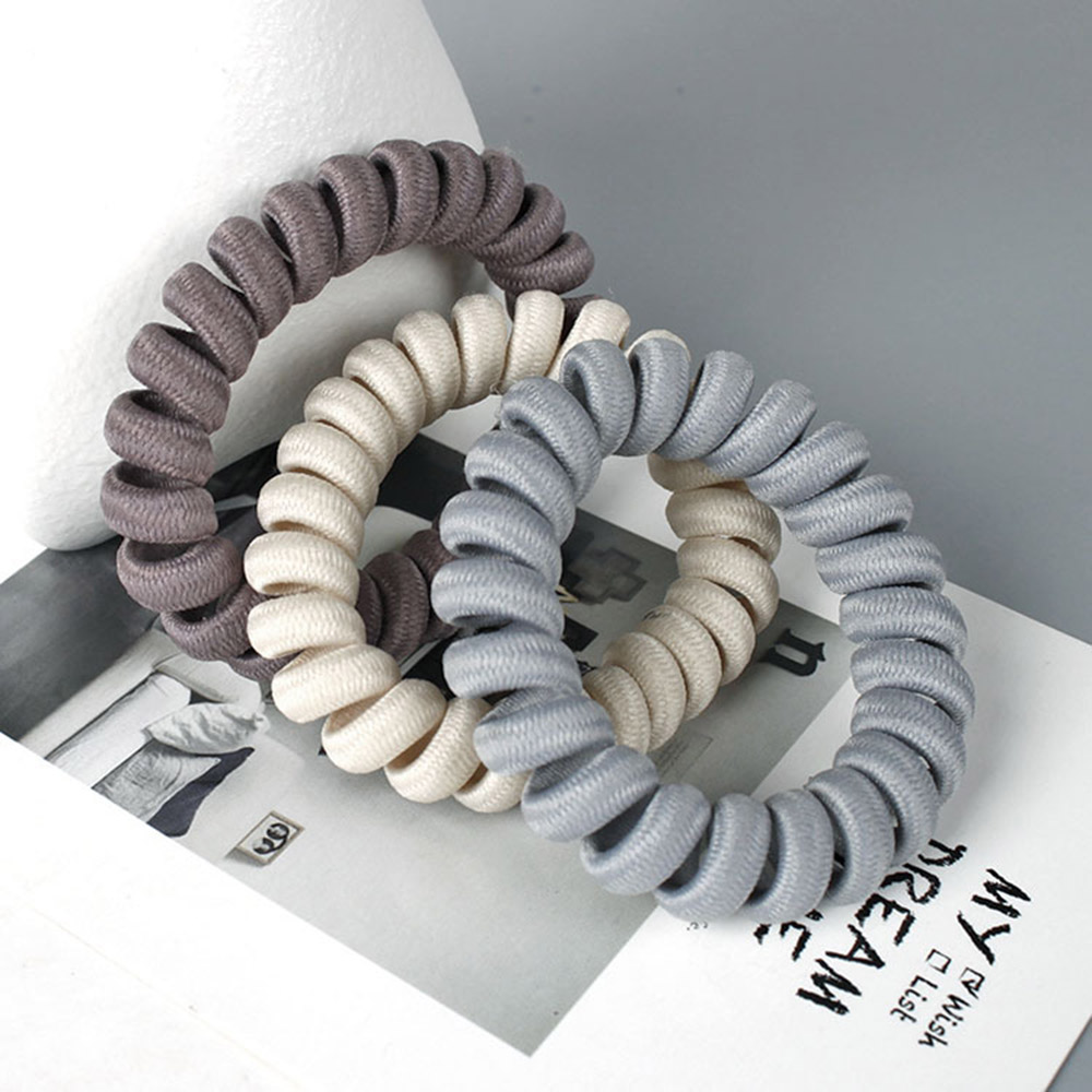 Elasticity Telephone Coil Hairbands Women Spiral Hair Ties Girls Hair Rings Rope Solid Color Hair Accessories Gum Scrunchy