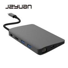 Doca usb tipo c para laptop, base para macbook usb c hdmi mini dp 4k rj45 ethernet usb doca de carregamento de áudio 3.0mm tipo c, 3.5
