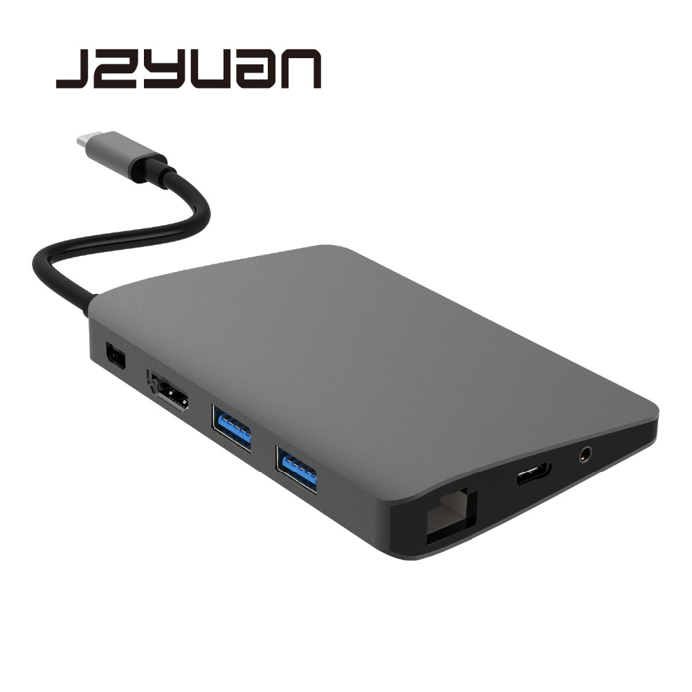 USB C Station d'accueil pour ordinateur portable de Type C pour Macbook USB C à HDMI Mini DP 4K RJ45 Ethernet USB 3.0 Audio 3.5mm Type C Station d'accueil