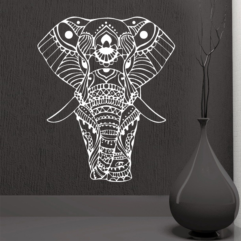ROWNOCEAN Mandala Yoga Ornamento Buddha indiano Dio Elefante Wall Stickers Home Decor Art Soggiorno Murale in vinile M613 rimovibile
