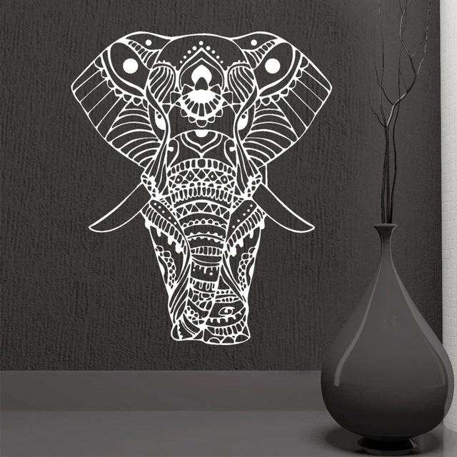 ROWNOCEAN Yoga Mandala Ornamen Indian Buddha Allah Gajah Stiker Dinding Rumah Seni Dekorasi Ruang Vinyl Mural Removable M613