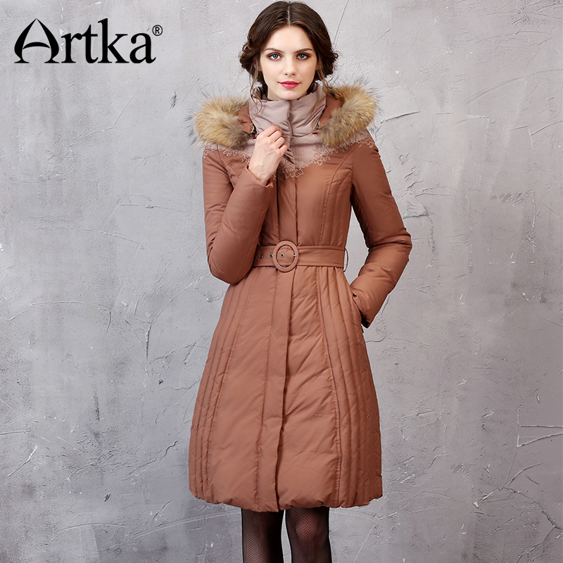 ARTKA Winter Duck   Down   Jacket 2018 Long Windbreaker Hooded Parka Female Fur Collar   Down     Coat   Lace Embroidery Overcoat YK10057D