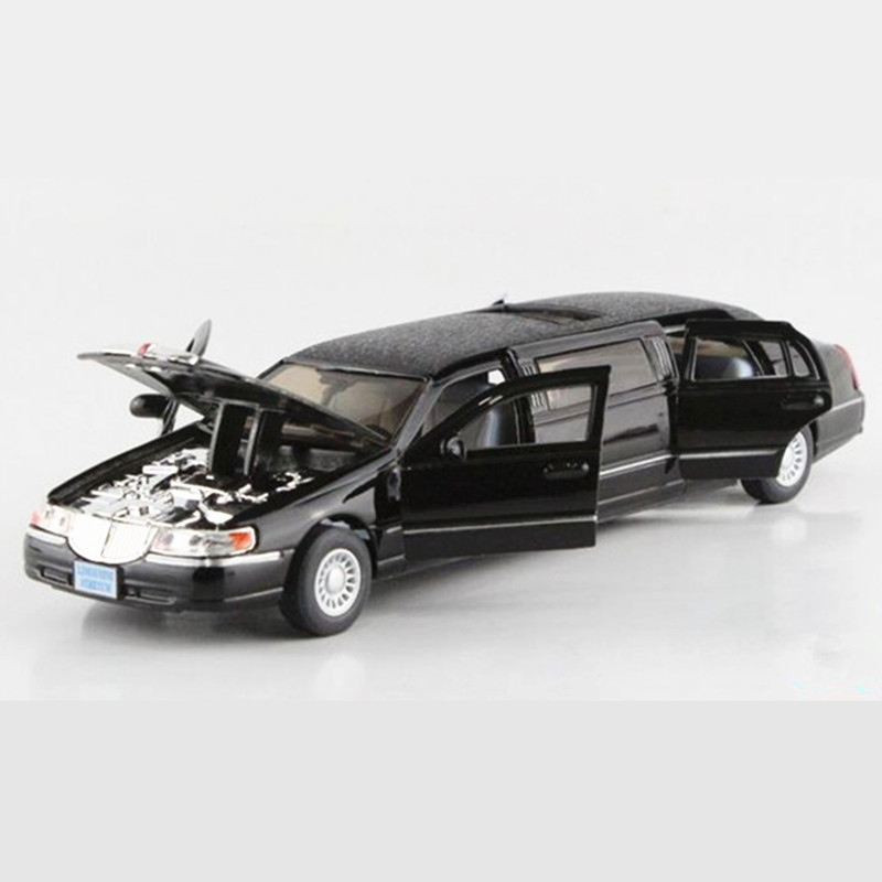 1 38 Scale KINSMART Lincoln Limousine Toy Cars Models Simulation Pull Back Car Toys For Chldren