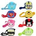 Nova kawaii bonito bolsa de ombro pelúcia Minions Superman Homem Aranha Batman Mickey Mario figura toy kids bolsas dos desenhos animados mini satchel