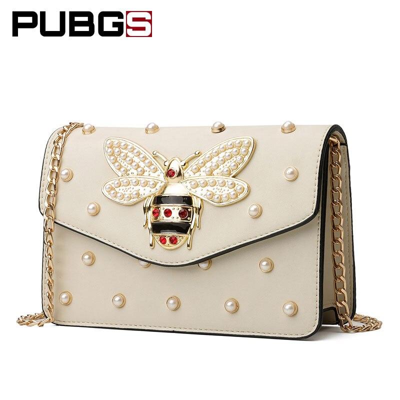 Для женщин сумка женская сумка жемчужные украшения Милая Пчелка Цепи небольшой площади сумка Роскошный дизайнерский бренд pubgs 2018 Новый