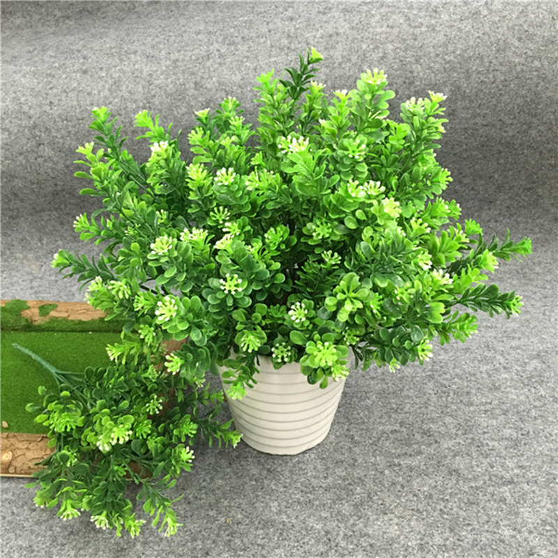 1Pcs(1Pcs=7 branch) Bouquet Fake Green Plant Fake Milan Grass with Leaf Setting Wall Decoration Flower Accessories