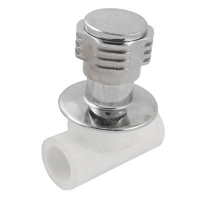 White Silver Tone Rotatable Handle Water Concealed Stop Valve 24mm x 24mm silver tone metal flat head rotatable handle can tap valve for refrigerant