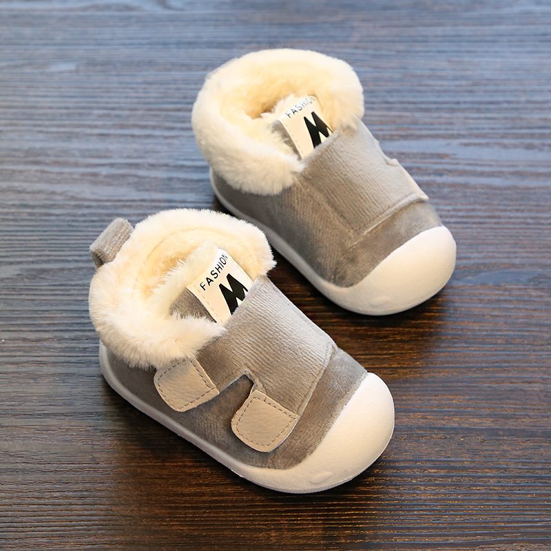 1 3 years old male and female baby soft bottom non slip winter cotton shoes children warm and velvet baby can not fall