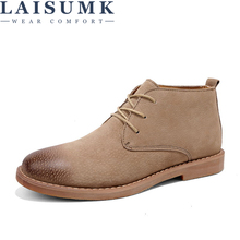 LAISUMK Leather Men Ankle Boots Breathable High Top Shoes Outdoor Casual Winter Botas Homme