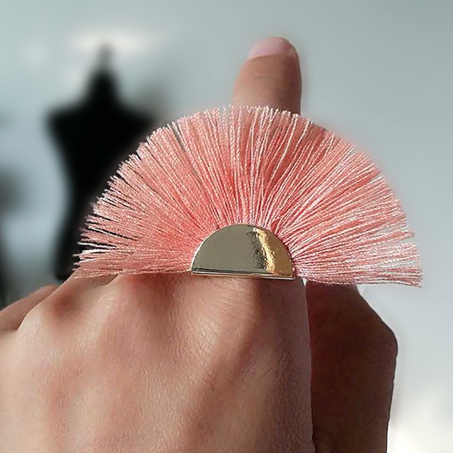 MANILAI 7 Colors Fan Design Bohemian Tassel Rings for Women Fringed Open Adjusta