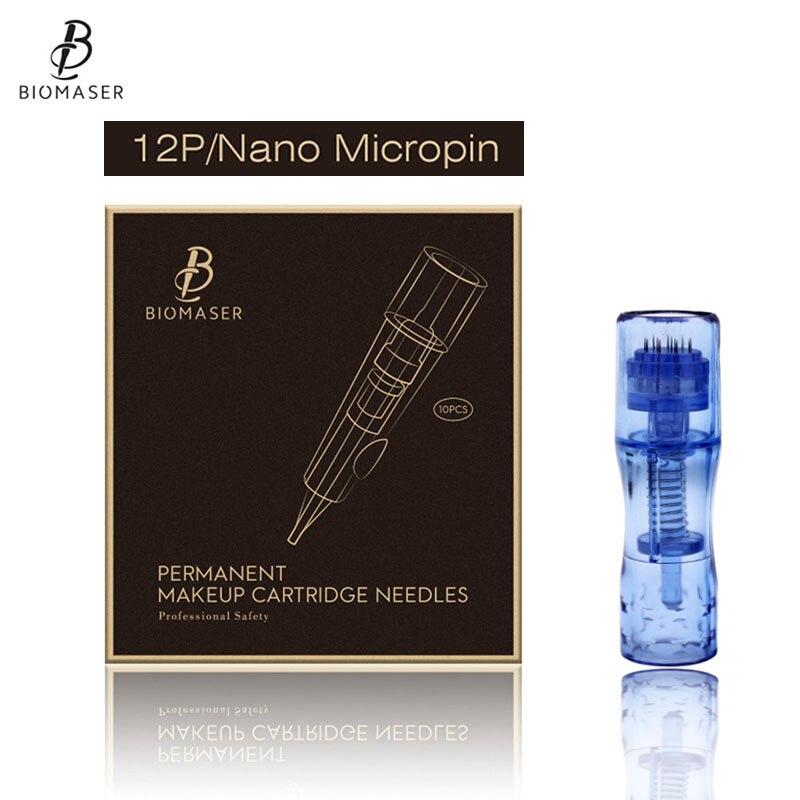 BIOMASER 10PCS Disposable Permanent Makeup Tattoo Needle Cartridge Mesotherapy For Machine Eyebrow Tattoo Lip 12P agujas nano