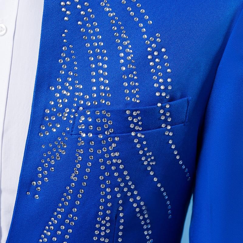 black blue Pantalon Ensemble Mince Mariage De Manteau Outfit Blanc Chanteur Strass Veste Taille Plus Hôte Noir Costume Bleu Rouge La red Hommes Argent White Set Spectacle W0F4gfwqx