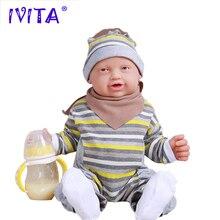 IVITA WB1513 59 см 5210 г реальные Мягкие силиконовые Reborn для маленьких мальчиков средства ухода век открыт кукла новорожденных жив смех