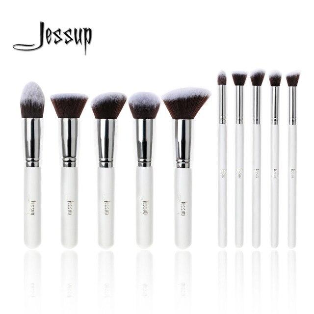 Professional 10pcs White/Silver Jessup Brand Makeup Brushes Set Beauty Foundation Kabuki Brush Cosmetics Make up Brushes Kit