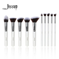 Professional 10pcs White Silver Foundation Blush Liquid Brush Kabuki Makeup Brushes Tools Set