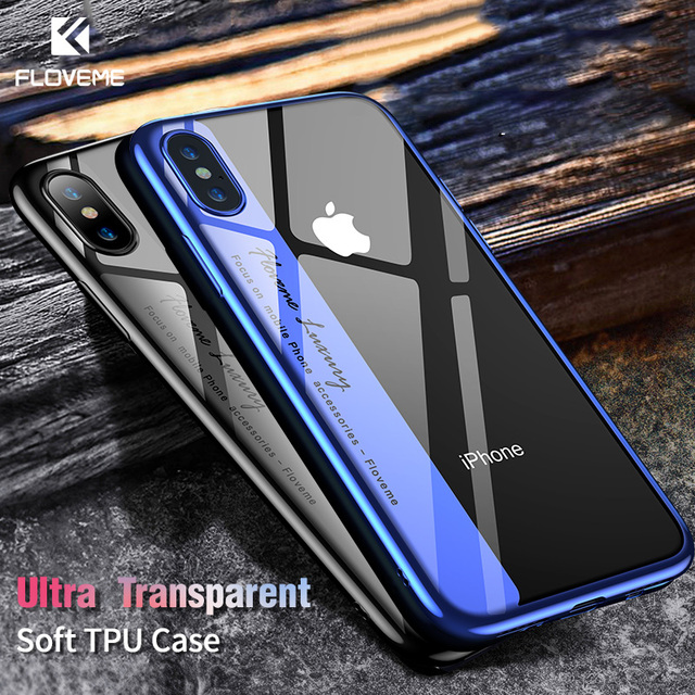 FLOVEME Luxury Phone Case For iPhone 8 7 Plus Transparent Plated Soft TPU Cases For iPhone X 10 6s 6 Plus 8 Silicone Cover Capa