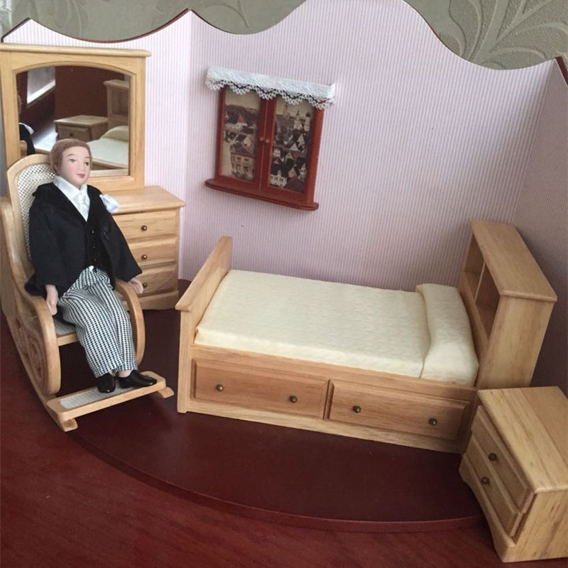 1:12 Dollhouse Furniture toy wooden Miniature bed chair Dressing table bedroom sets pretend play toys for children girls dolls wooden dressing table makeup desk with stool oval rotation mirror 5 drawers white bedroom furniture dropshipping